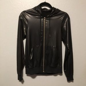 American Apparel faux leather zip up hoodie XXS